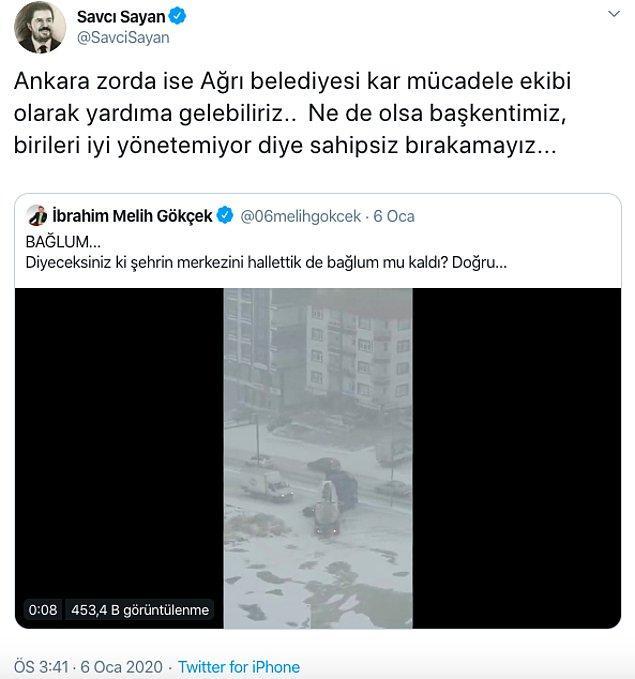 O desteklerden bir tanesi Ağrı Belediye Başkanı Savcı Sayan'dan gelmişti.