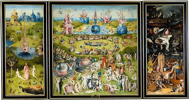 """7. """"Dünyevi Zevkler Bahçesi"""" adlı tablo, ünlü İtalyan ressam Sandro Boticelli'ye aittir."""