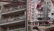 Elazığ Depreminde Zarar Gören Evin Yıkımı Sırasında Türk Bayrağı Hassasiyeti Gösteren Vinç Operatörü!
