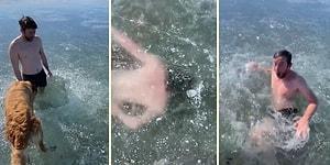 Gölün Buz Tutmuş Yüzeyinin Altında Yüzen Adamın İzlerken Nefesinizi Keseceği Görüntüleri!
