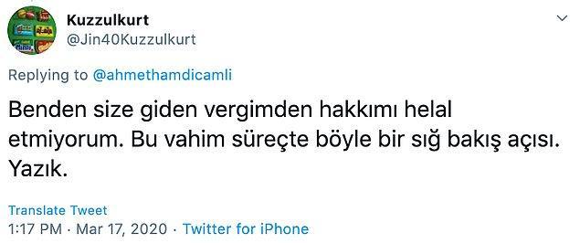Çamlı'nın paylaşımının ardından, birçok sosyal medya kullanıcısından tepki geldi.