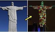 Koronavirüse Karşı Küresel Dayanışma İçin 'Kurtarıcı İsa Heykeli' Vaka Bulunan Ülkelerin Bayraklarıyla Aydınlatıldı