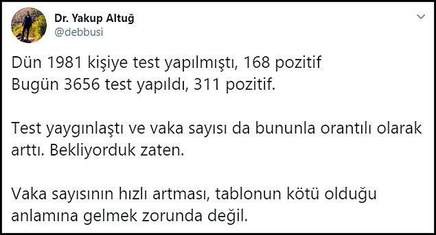 Vaka sayısındaki artışın yapılan testlerle orantılı olarak arttığı şeklinde yorumlar yapılıyor 👇