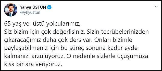Türk Hava Yolları da 65 yaş ve üstü yolcularına uçuşları yasakladı 👇