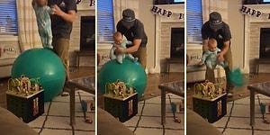 Çocuğunu Üzerinde Zıplattığı Dev Balon Bir Anda Patlayınca Talihsiz Bir An Yaşayan Baba
