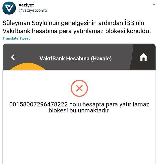 Soylu'nun genelgesinin ardından İBB'nin banka hesabına bloke konduğu aktarıldı