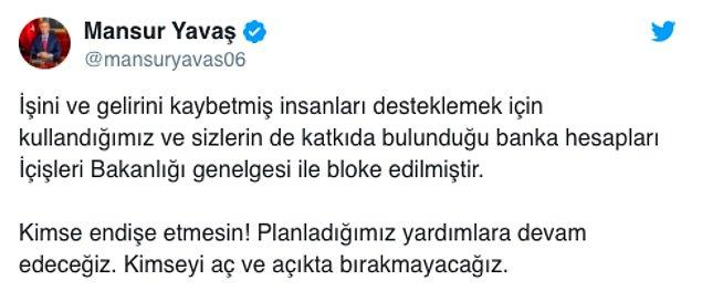 """ABB Başkanı Mansur Yavaş ise bloke edilen hesaplar sonrası """"imseyi aç ve açıkta bırakmayacağız"""" açıklaması yaptı👇"""
