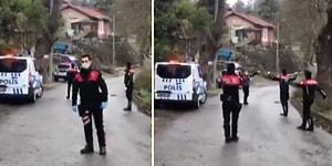 Polis Önce Anons Yaptı Ardından Vatandaşlara Moral Vermek İçin Oyun Havası Açıp Oynadı