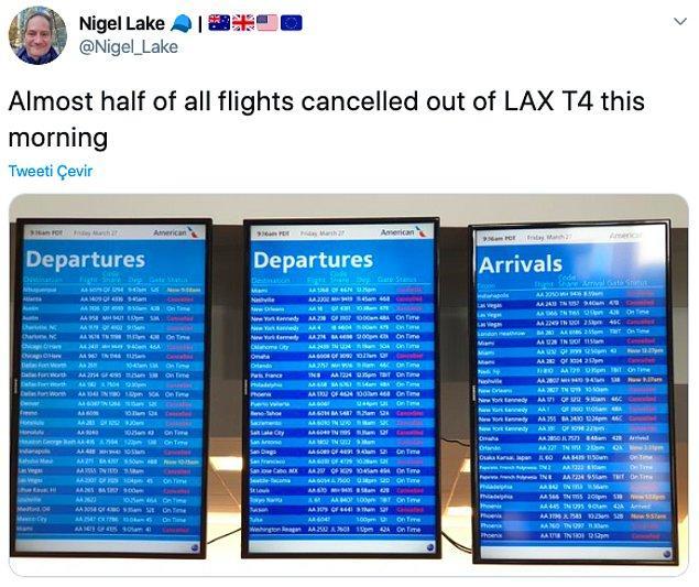 """12. """"Uçuşların yarısından fazlası iptal edilmiş."""""""