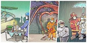 İranlı Sanatçı Alireza Pakdel'in Koronavirüs Salgınının Acı Yüzünü Gösteren 29 Etkileyici İllüstrasyonu
