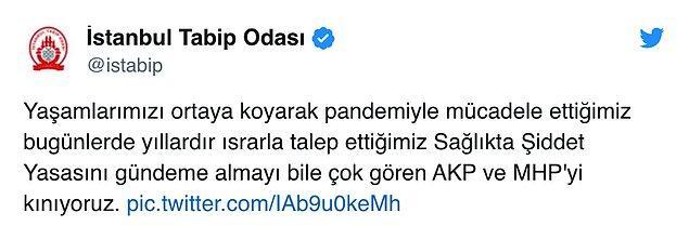 İstanbul Tabip Odası da AKP ve MHP'nin red oylarına tepki gösterdi