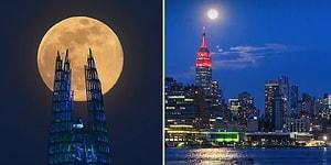 Dünyanın Dört Bir Yanından Kaydedilen Görüntüler ile Süper Ay Tutulması