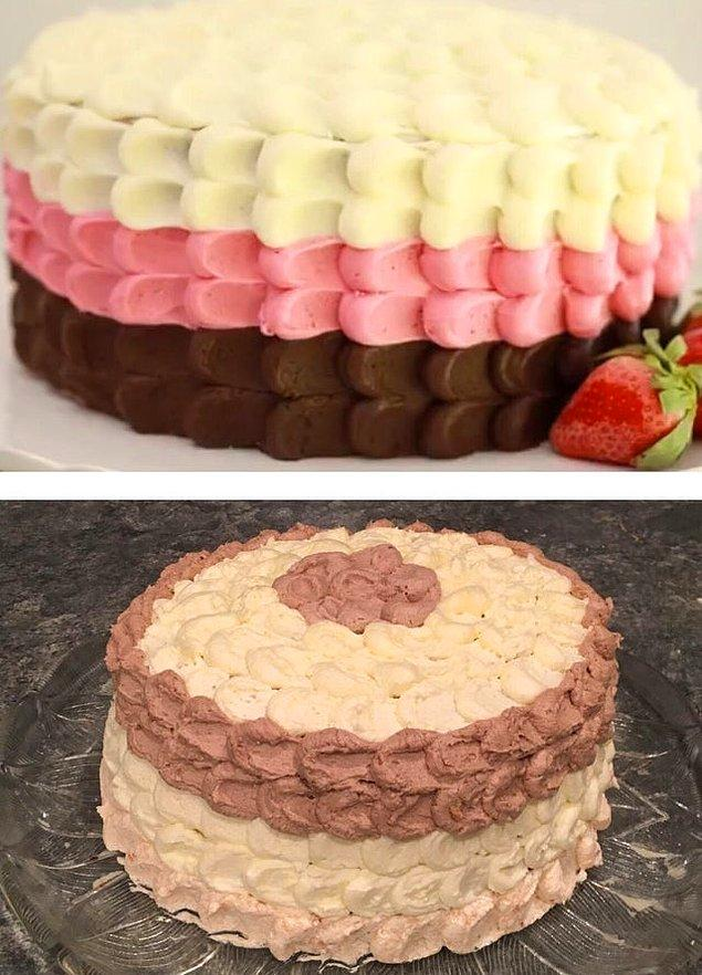 """4. """"Yarın erkek arkadaşımın doğum günü. Benden internette gördüğü bir pastayı yapmamı istedi. Pek benzemedi gibi ama, tarif ne diyorsa onu yapmıştım."""""""