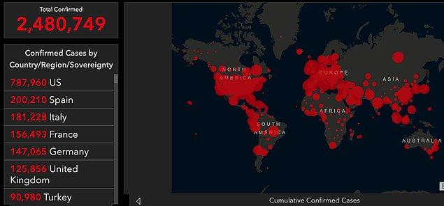 Salgında son durum: 2,5 milyon vaka, 171 bin can kaybı