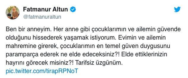 Fatmanur Altun konuyla ilgili bir tweet atarak tartışmanın fitilini ateşledi