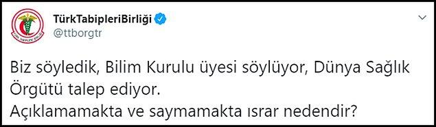 """Türk Tabipleri Birliği, Azap'ın açıklaması sonrası sordu: """"Açıklamamakta ve saymamakta ısrar neden?"""""""