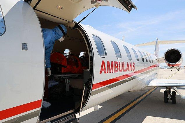 Ambulans uçak saat 13.30'da Ankara Esenboğa Havalimanı'na indi.