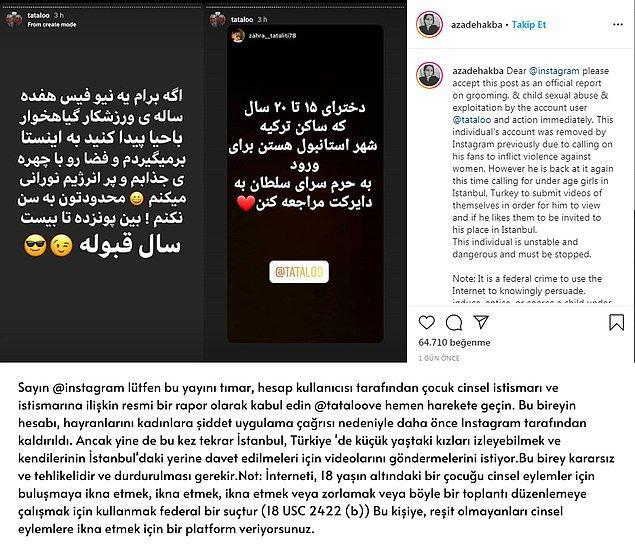 """Tatoloo, 4.4 milyon takipçili Instagram hesabı üzerinden """"Türkiye'de küçük yaştaki kızları izleyebilmek ve kendilerinin İstanbul'daki evine davet edilmeleri için videolar göndermelerini"""" istemiş."""