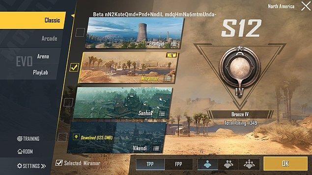 Yeni haritayı denemek içinse haritalar kısmından Miramar'ı seçmeniz yeterli!