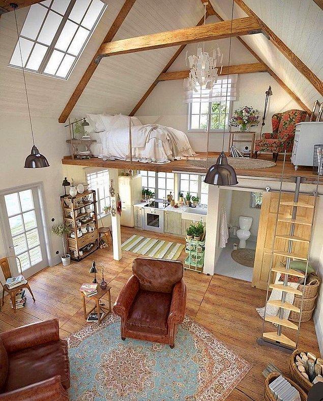 """5. Başka bir Reddit kullanıcısı ise """"küçük ev"""" terimini alıp havadar ve rahatlatıcı bu ortamı inşa etmiş."""