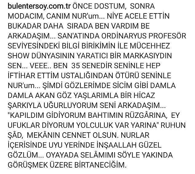 Bülent Ersoy da yakın arkadaşının vefatından sonra acısını bu sözlerle Instagram hesabından paylaşmıştı...
