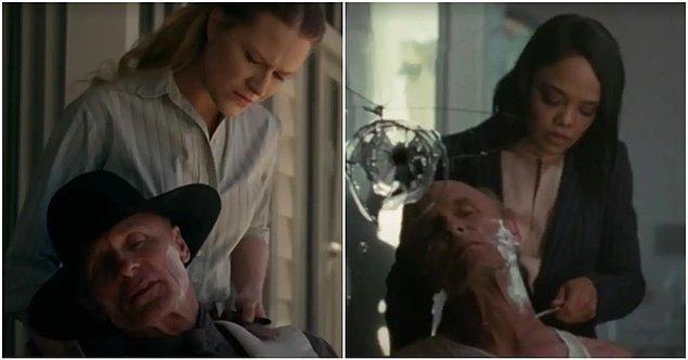 17. Charlotte'ın William'ı traş ettiği sahne bizi doğrudan 1. sezona, William'ın Dolores'e zorla sakallarını kestirdiği ana  götürüyor.
