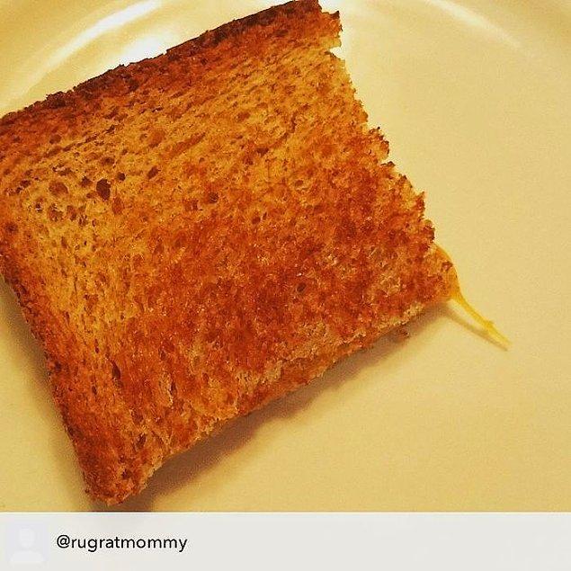 """12. """"Kızarmış peynirli sandviç. Kuyruğu olduğu için yemiyor. Çünkü hayvanları yemezmiş."""""""