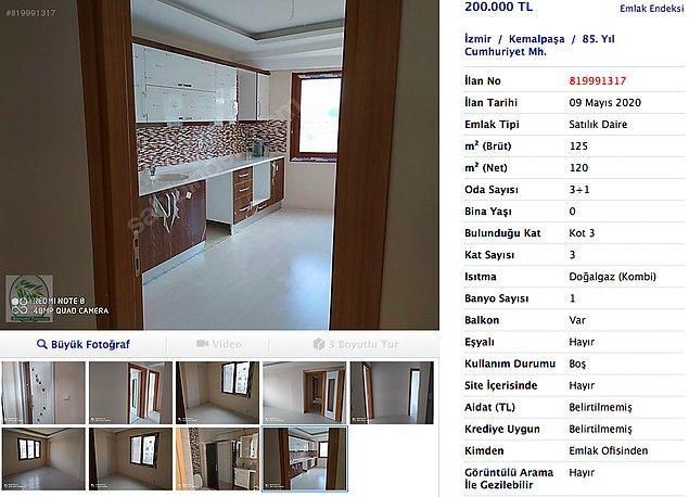 İzmir'de ev fiyatları diğer illere göre yüksek olsa da yine düşük fiyatlara ev bulabiliyorsunuz. Sıfır bir evi 200 bin TL'ye almak büyük şans bu devirde. Hem de İzmir gibi bir yerde.
