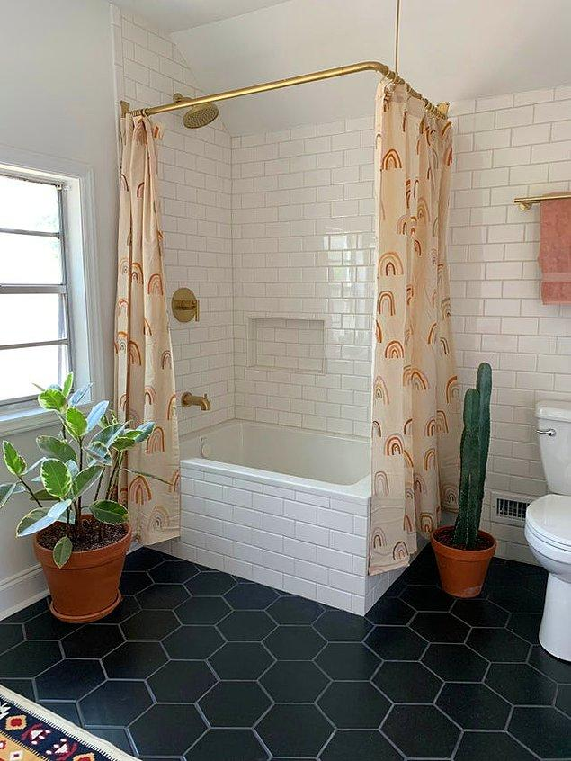 12. Çok masraf etmeden de böyle tatlış bir banyoya sahip olabiliriz sanki