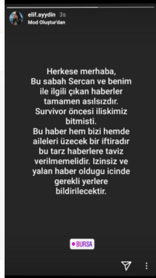Son dakika gelişmesi: Sercan Yıldırım ile birlikte olduğu söylenen Elif Aydın'dan ilk açıklama geldi: