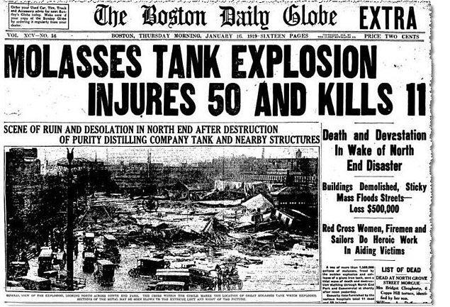 Takvim yaprakları 15 Ocak 1919'u gösterirken, Amerika Birleşik Devletleri'nin Massachusetts eyaletinin başkenti olan Boston'da belki kırk yıl düşünsek aklımıza gelmeyecek bir olay yaşandı.