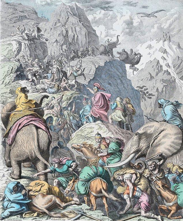 90 bin piyade, 10 bin süvari ve 37 fil gibi Antik Çağ için görülmemiş büyüklükte bir ordu ile hem de kabilelerle savaşarak Pirene ve Alp dağlarını geçen Hannibal, Roma'yı zapt etmeyi kafasına koyar.