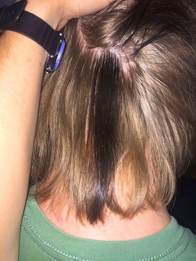 """13. """"Sarışın olmama rağmen saçımın bir kısmı böyle siyah uzuyor."""""""