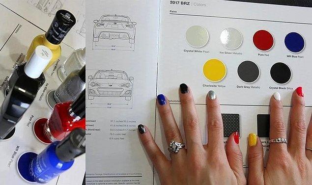 """13. """"Kız arkadaşım yeni arabamın rengini seçmeme bu şekilde yardımcı oluyor."""""""
