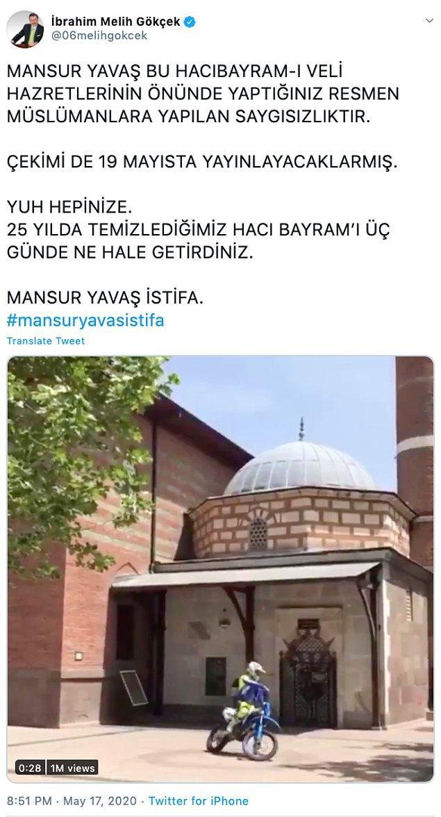 Gökçek birkaç gün önce, Hacı Bayram Veli Camii ile ilgili bir paylaşım yapmıştı.