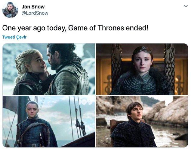 """9. """"Bir yıl önce bugün Game of Thrones bitti!"""""""