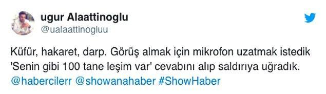 Muhabir Uğur Alaattinoğlu, Kameraman Uğurcan İncegül kendilerine saldıran o müteahitten şikâyetçi oldu.