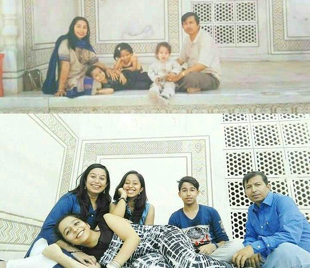 """17. """"Tac Mahal'deki bu fotoğrafı yeniden canlandırmamız 14 yıl sürdü ve büyüdük."""""""