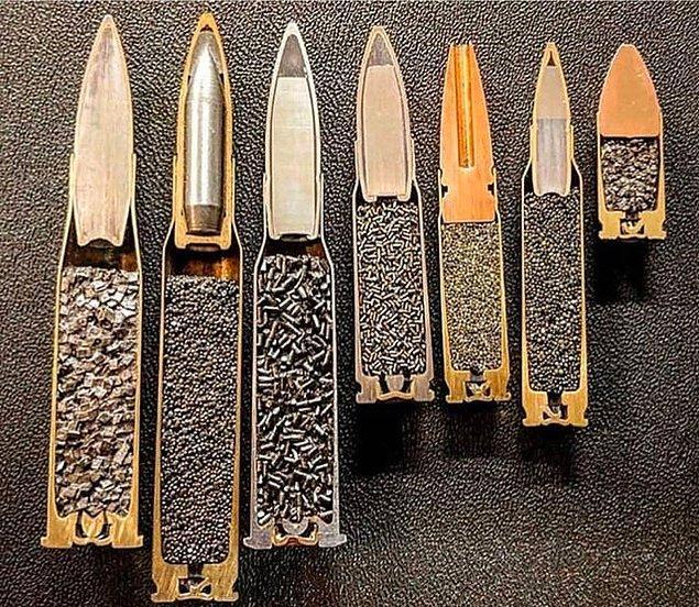 12. Farklı kalibredeki mermilerin ortadan bölünmüş hali: