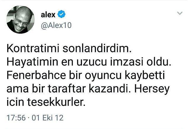 Fenerbahçe'nin tarihi boyunca en iyi yabancı futbolcusu olan, rekorların adamı Alex De Souza'dan kuşkusuz tüm Türkiye'yi üzen paylaşım..