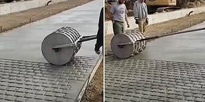 Düz Betonu Parke Taşı Görüntüsüne Büründüren Aletin İzlerken Hipnotize Olacağınız Anları