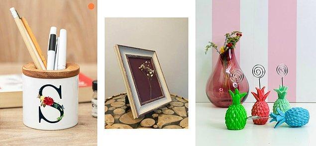 Masalarınızın üzerine de hem kullanışlı hem de dekoratif ürünler yerleştirebilirsiniz.