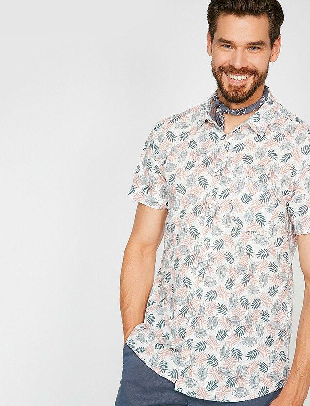11. Yaprak desenli tek cepli bu gömlek pembe ve gri tonlarında...
