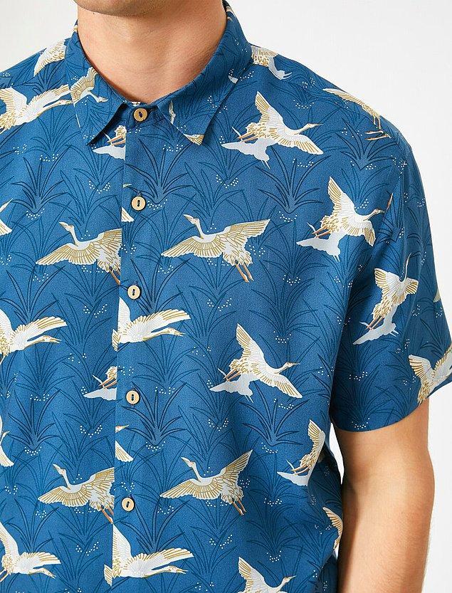 14. Listemizin son parçası da kuş desenli bu mavi gömlek...