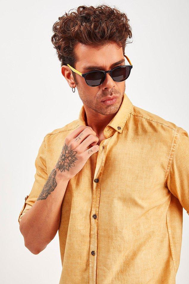 9. Hardal rengi bu keten gömlek şu anda %50 indirimde!