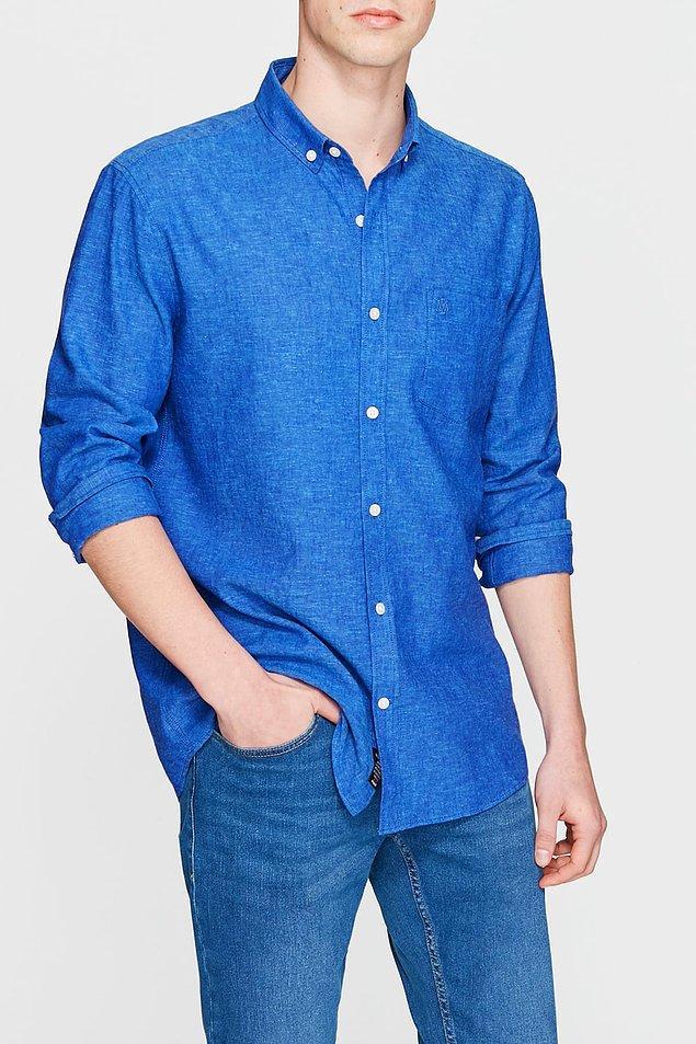 15. Listemizin son parçası olan mavi gömlek şu anda indirimde!