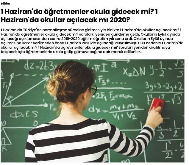 Şimdi farklı bir örneği inceleyelim. Star gazetesinde 'Eğitim' kategorisinde yayınlanan ve cevabı evet veya hayır olan bir soru işlenmiş.