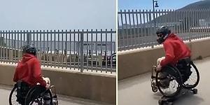 Tekerlekli Sandalyesi ile Kaykay Yapan Adamdan Hiçbir Engelin Hayattan Keyif Almaya Engel Olmadığının Kanıtı