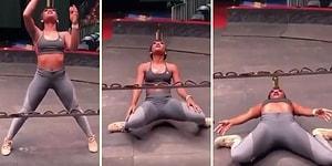 Kafasında Şişe Taşıyarak Limbo Yapan Kadın
