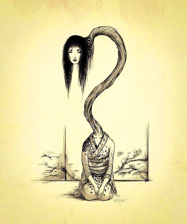 13. 'Rokurokubi' gündüzleri normal bir kadınken, geceleri aşırı derecede uzun boynuyla kan emen ya da insan yiyen bir yaratıktır.